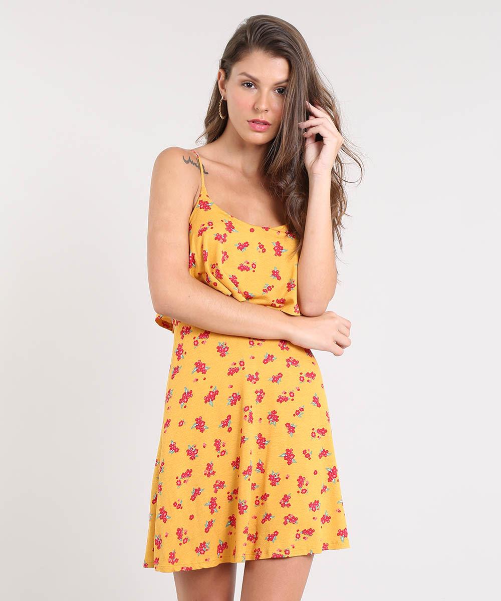 86c9797b3 Vestido Feminino Curto Evasê Estampado Floral com Sobreposição Alça ...