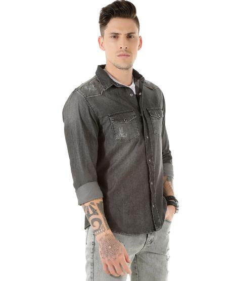4179978207 Camisa Jeans Masculina Preta Casual em promoção - Compre Online ...