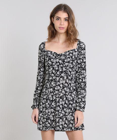 23b1bd905 Vestido-Feminino-Mindset-Estampado-Floral-Decote-Princesa-Preto-