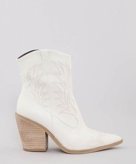 47d7a0bf20 Bota-Feminina-Cowboy-Bordada-Bico-Fino-Off-White-