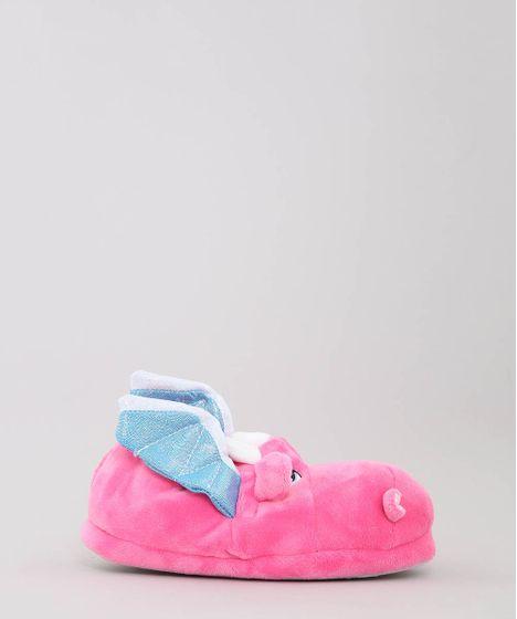 5d49ef79db1066 Pantufa Infantil Dragão com Brilho Pink - cea