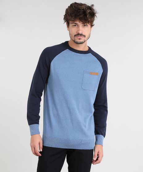Sueter-Masculino-Raglan-em-Trico-com-Bolso-Azul-8865713-Azul_1