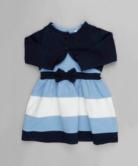 4fbc14d7d Vestido-Infantil-sem-Manga-Azul-Claro---Bolero-