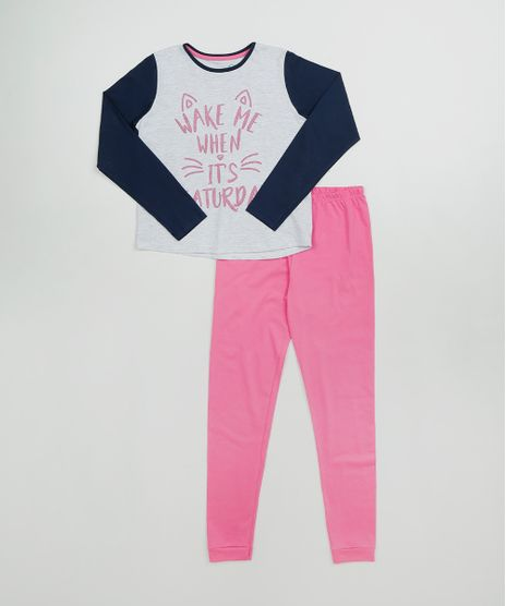 Pijama-Infantil--Wake-me-when-----Manga-Longa-Cinza-Mescla-9526228-Cinza_Mescla_1