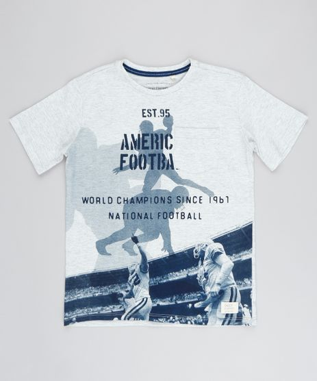 Camiseta-Infantil-Futebol-Americano-com-Bolso-Manga-Curta-Gola-Careca-Cinza-Mescla-Claro-9038315-Cinza_Mescla_Claro_1