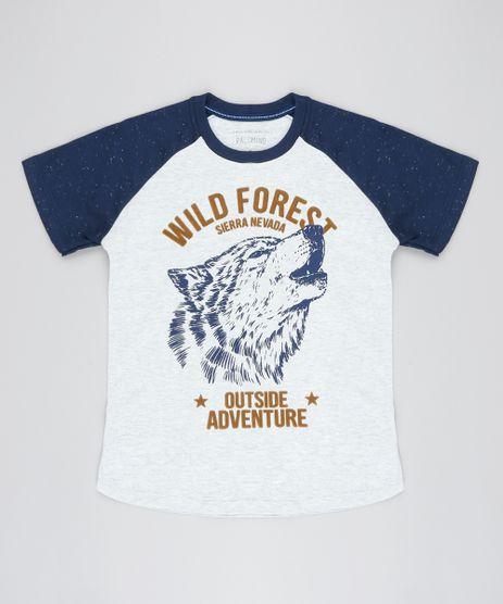Camiseta-Raglan-Infantil-Lobo--Wild-Forest--Manga-Curta-Gola-Careca-Cinza-Mescla-Claro-9527099-Cinza_Mescla_Claro_1