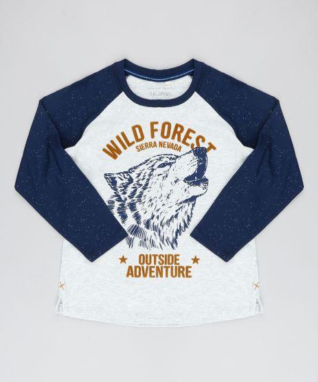 Camiseta-Raglan-Infantil-Lobo--Wild-Forest--Manga-Longa-Gola-Careca-Cinza-Mescla-Claro-9527100-Cinza_Mescla_Claro_1