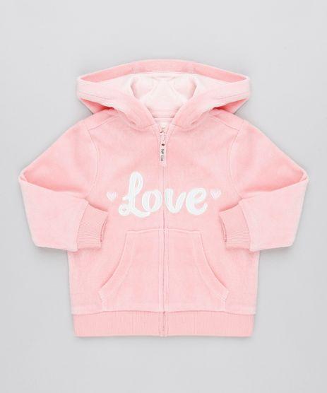 Blusao-Infantil--Love--em-Plush-com-Capuz-Rosa-9345936-Rosa_1