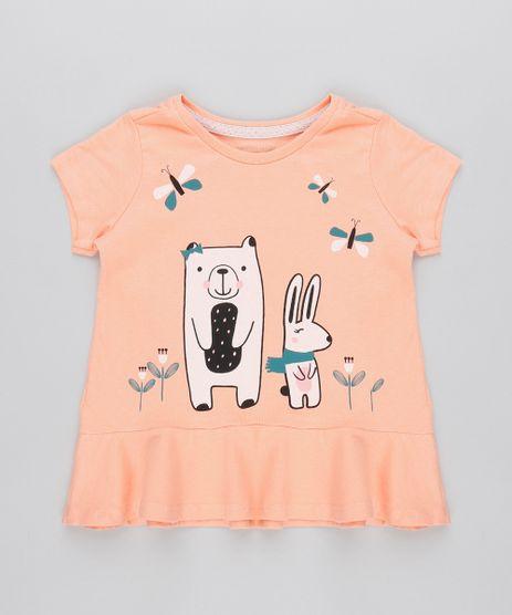 Camiseta-Infantil-com-Bichinhos-Glitter-e-Babado-Manga-Curta-Coral-9471878-Coral_1
