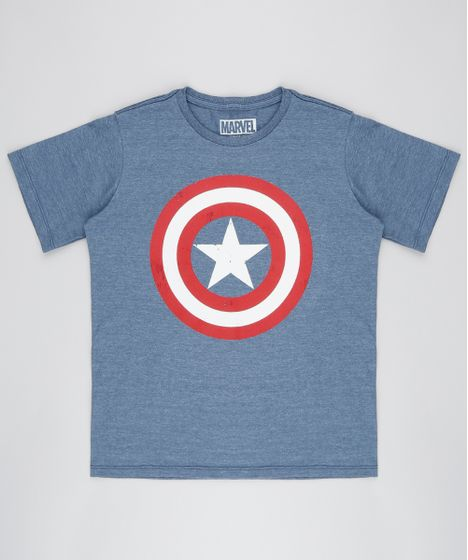 077bd78d78 Camiseta Infantil Capitão América Manga Curta Gola Careca Azul ...