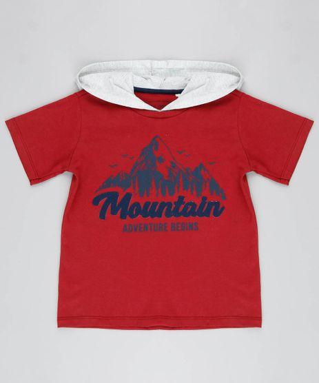 Camiseta-Infantil--Mountain--com-Capuz-Manga-Curta-Vermelha-9526861-Vermelho_1