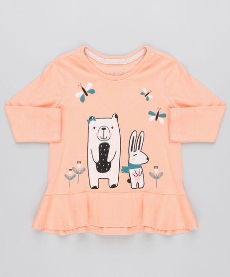 Camiseta-Infantil-com-Bichinhos-Babado-e-Glitter-Manga-Longa-Coral-9471879-Coral_1
