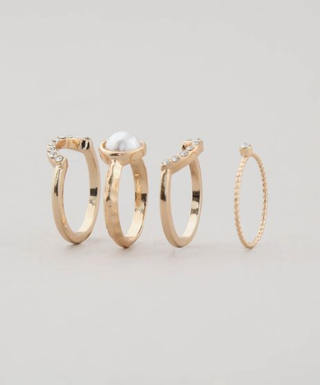 Kit-de-4-Aneis-Feminino-com-Strass-Dourado-9427664-Dourado_1