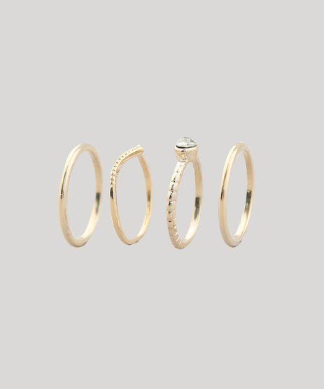 Kit-de-4-Aneis-Feminino-com-Strass-Dourado-9437688-Dourado_1