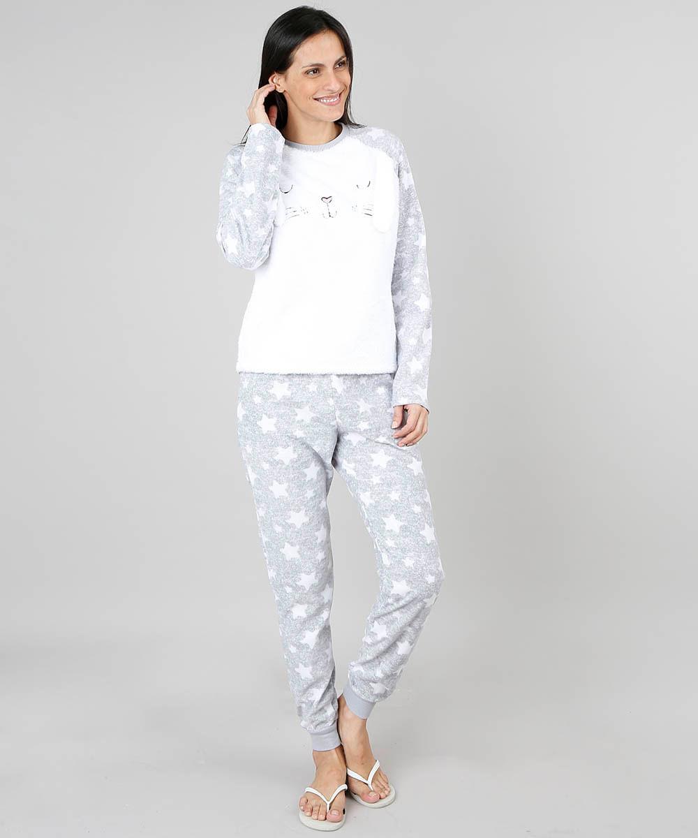 b7c536b38 Pijama de Inverno Feminino em Fleece Coelho Manga Longa Cinza - cea