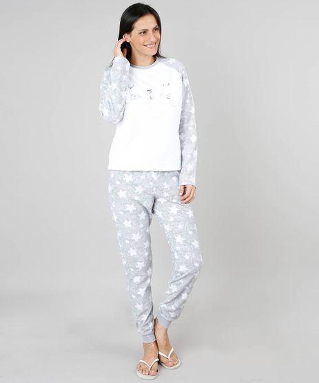 Pijama-de-Inverno-Feminino-em-Fleece-Coelho-Manga-Longa-Cinza-9370797-Cinza_1