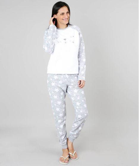0f4ef0298 Pijama de Inverno Feminino em Fleece Coelho Manga Longa Cinza - cea