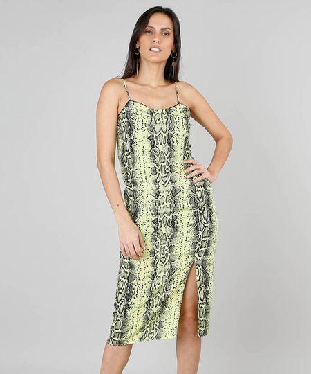 5048fafe9 Vestido Feminino Midi Estampado Animal Print com Fenda Verde Neon