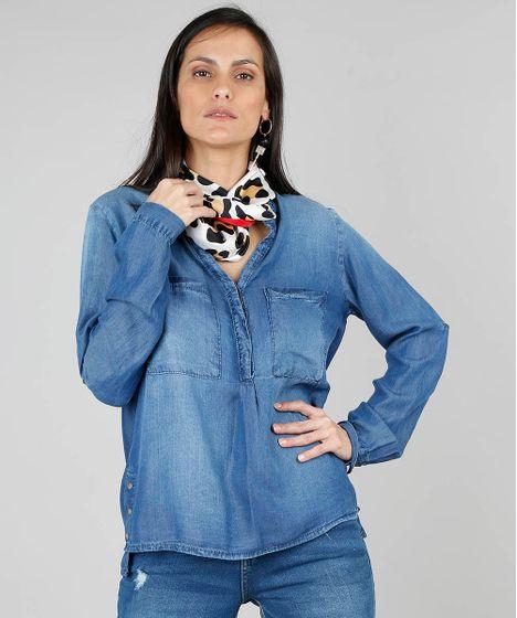 d422234ba3787 Camisa Jeans Feminina com Botões Metálicos Manga Longa Azul ...