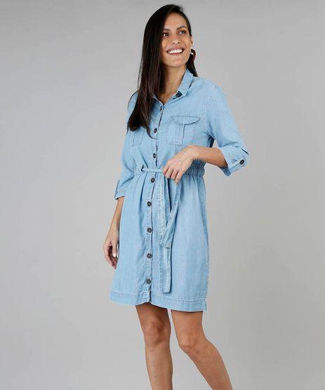Vestido-Chemise-Feminino-Jeans-com-Bolsos-Manga-7-8-Azul-Claro-9549039-Azul_Claro_1