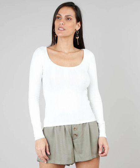 37c71236a Blusa Feminina Básica Canelada Manga Longa Off White | Menor preço ...