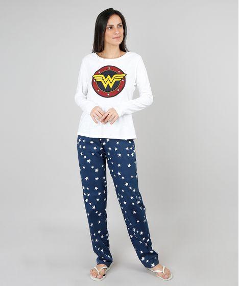 78e06fde198a76 Pijama Feminino Mulher Maravilha Manga Longa Off White - cea