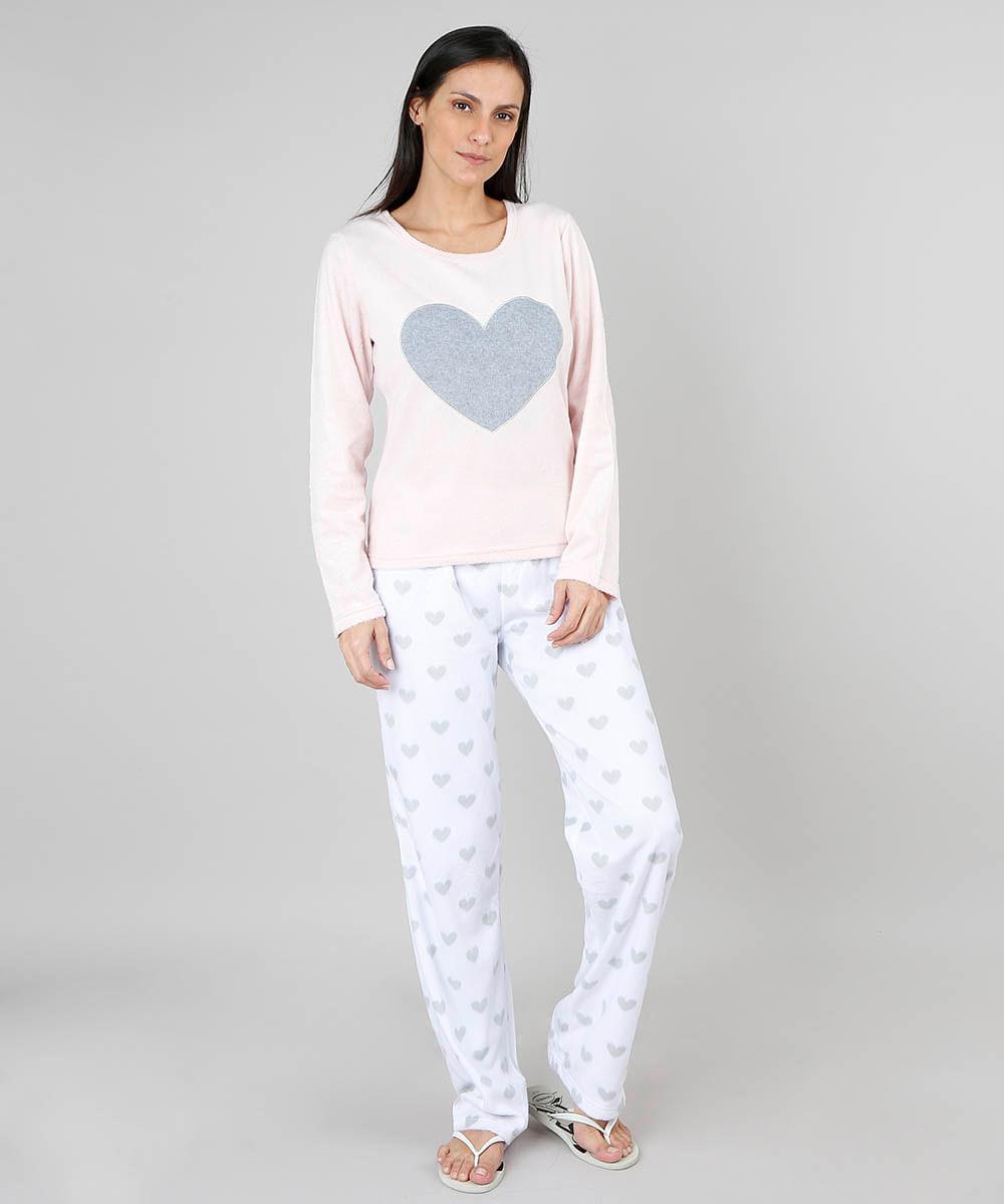 c46bf0d93 Pijama de Inverno Feminino em Fleece Coração Manga Longa Rosa Claro ...