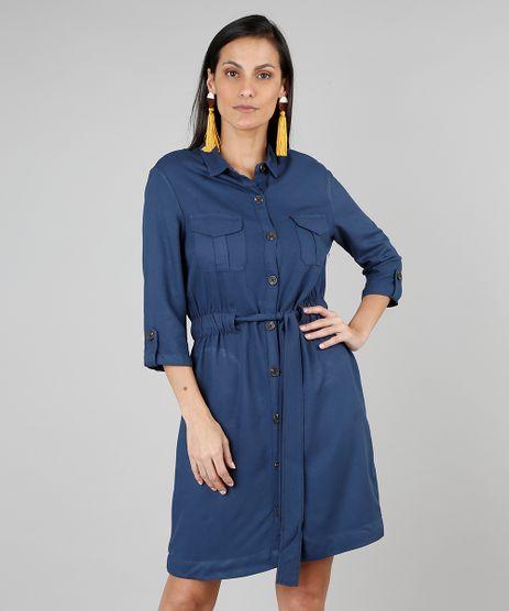 Vestido-Chemise-Feminino-com-Bolsos-Manga-7-8-Azul-Marinho-9549040-Azul_Marinho_1