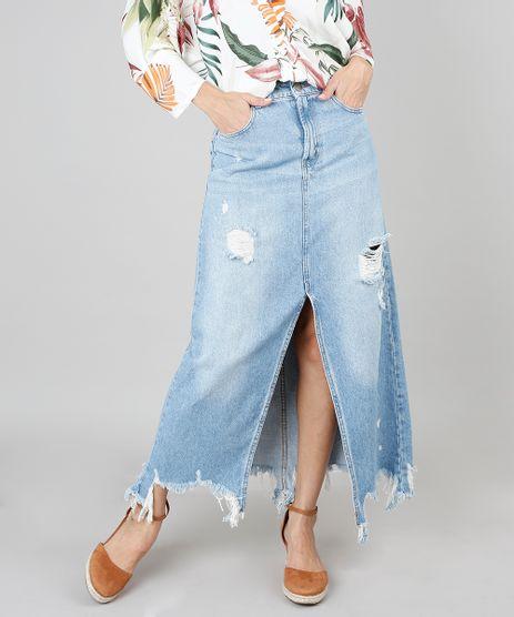 Saia-Jeans-Longa-Feminina-Com-Fenda-Destroyed-Azul-Claro-9546738-Azul_Claro_1