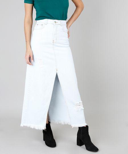 2648c8cdd9 Menor preço em Saia Jeans Longa Feminina Com Fenda Azul Claro
