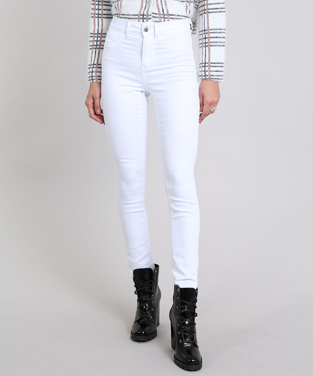 45ada52a4 Calça Feminina Super Skinny Energy Jeans Branca - ceacollections