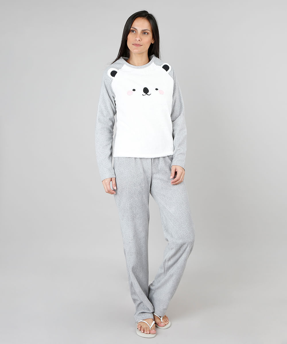 7fe90ac22 Pijama de Inverno Feminino em Fleece Urso Polar Manga Longa Cinza - cea