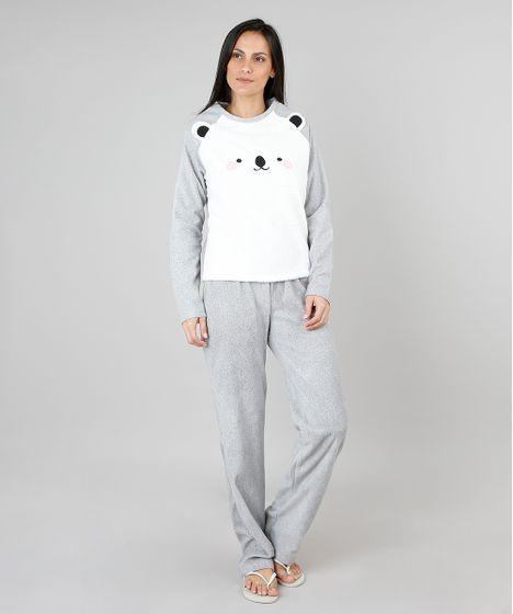 a0afbbe15 Pijama de Inverno Feminino em Fleece Urso Polar Manga Longa Cinza - cea