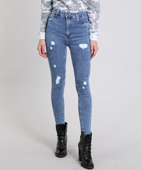 Calca-Jeans-Feminina-Super-Skinny-Sawary-Destroyed--Azul-Medio-9543138-Azul_Medio_1