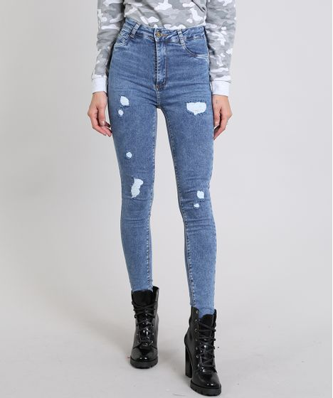 c36f247bd Calça Jeans Feminina Super Skinny Sawary Destroyed Azul Médio - cea