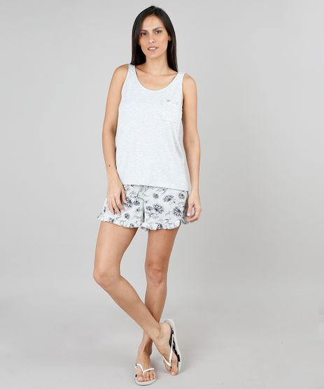 bf4ee7e89 Pijama-Feminino-Estampado-Floral-Cinza-Mescla-9505371-Cinza Mescla 1