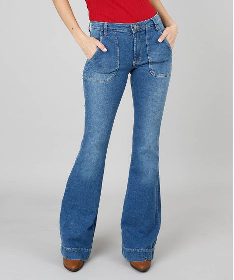 7a1d0b0ad Calça Jeans Feminina Super Flare Com Bolso Azul Médio - cea