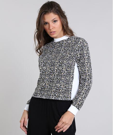 ee282f3931 Blusão Feminino em Moletom Estampado Animal Print Off White - cea