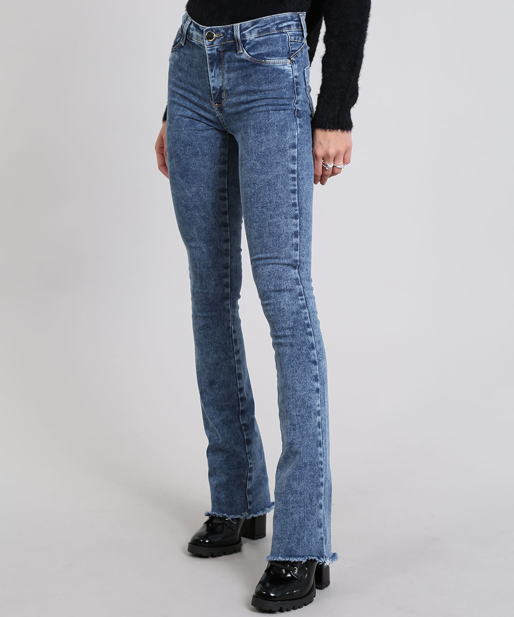 c16a9d0fe Calça Jeans Feminina Flare Azul Escuro - ceacollections