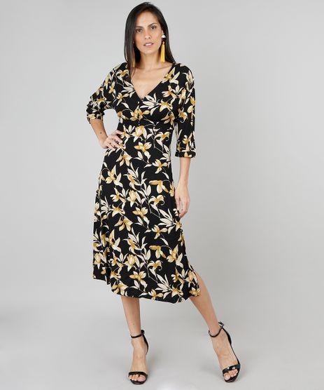 Vestido-Feminino-Midi-Estampado-Floral-Manga-3-4-Preto-9444185-Preto_1