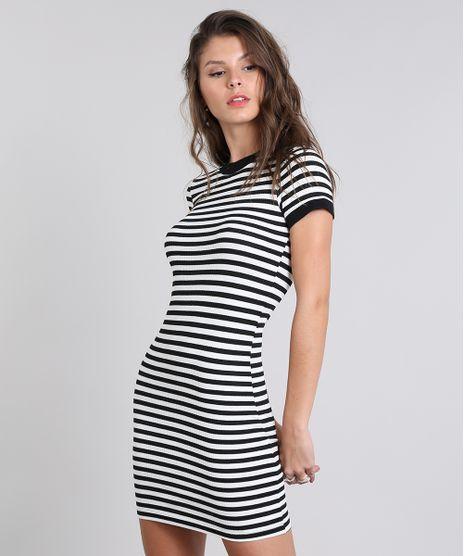 c1ad5638f8 Vestido-Feminino-Midi-Listrado-Canelado-Manga-Curta-Branco-