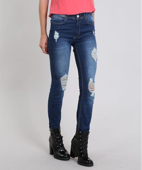 b64e0c770 Calca-Jeans-Feminina-Skinny-Destroyed--Azul-Escuro-9537862 ...