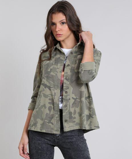 Jaqueta-Feminina-de-Sarja-Estampada-Camuflagem-Verde-Militar-9537694-Verde_Militar_1