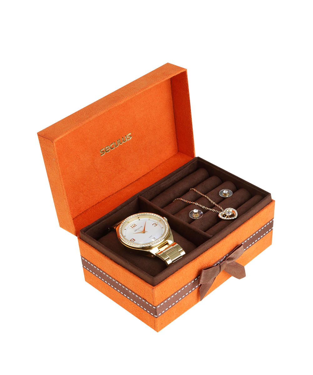 e839c0fb3ca Kit de Relógio Analógico Seculus Feminino + Colar + Brinco - 53002LPSGDS1K  Dourado - Único