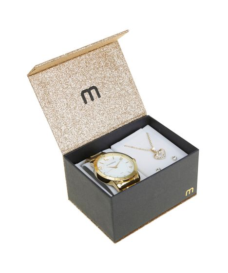 8261188cc74 Kit de Relógio Analógico Mondaine Feminino + Colar + Brinco ...