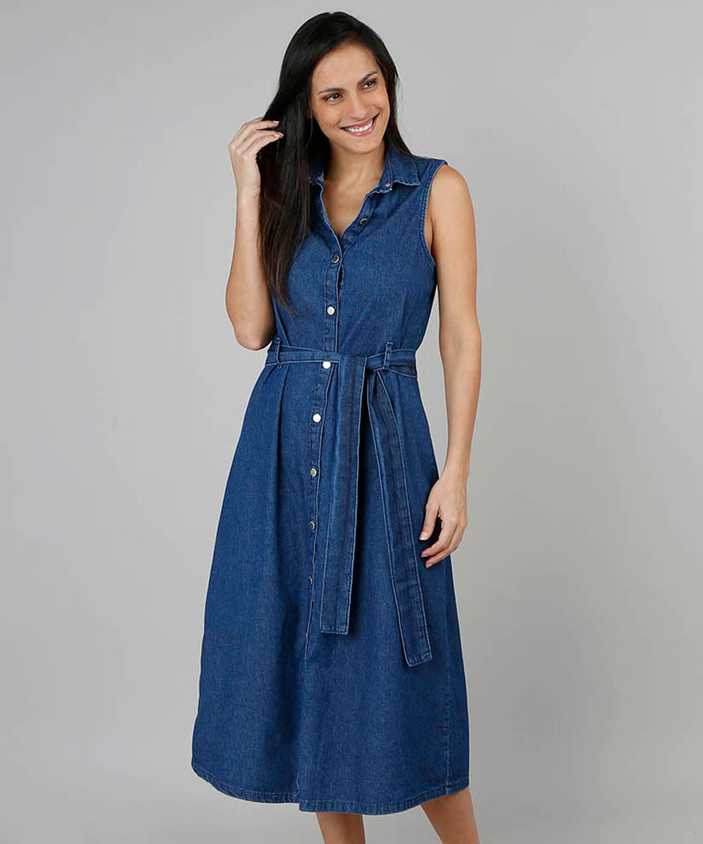 50d139ccb Vestido Jeans Feminino Midi Sem Manga Azul Escuro - cea