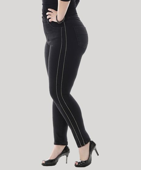 Calca-Jeans-Feminina-Cigarrete-com-Vivo-Metalizado-Plus-Size--Preta-9582676-Preto_1