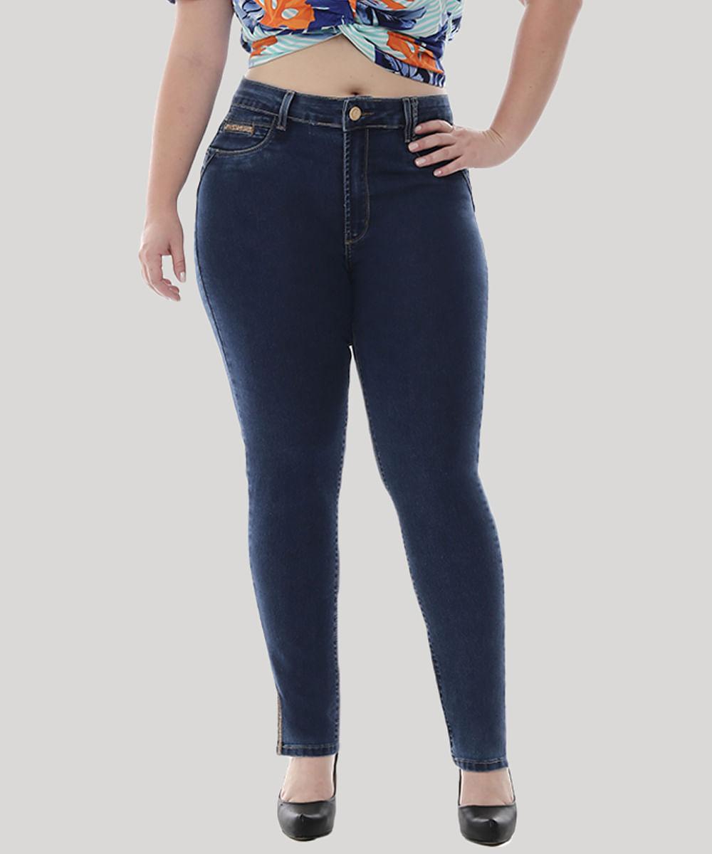 e3d531a3f Calça Jeans Feminina Sawary Cigarrete com Strass Plus Size Azul ...