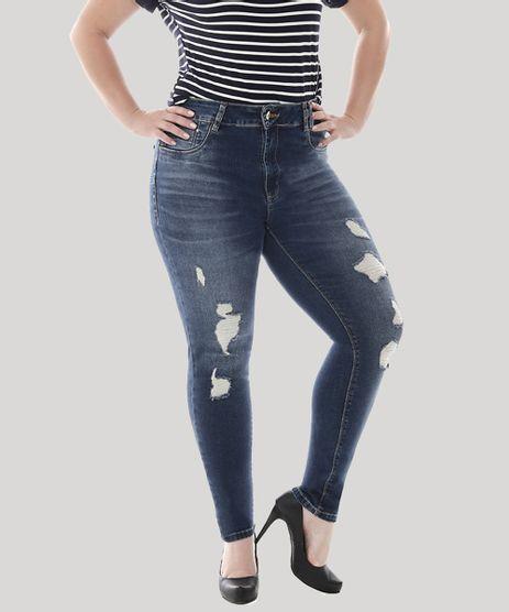 Calca-Jeans-Feminina-Cigarrete-com-Rasgos-Plus-Size--Azul-Escuro-9582668-Azul_Escuro_1