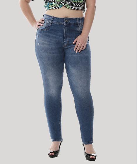 602885d5f Calça Jeans Feminina Sawary Cigarrete com Puídos Plus Size Azul ...